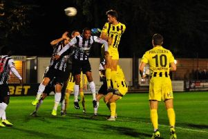 Neill Byrne heads Fylde's equaliser at Maidenhead  Picture: STEVE MCLELLAN