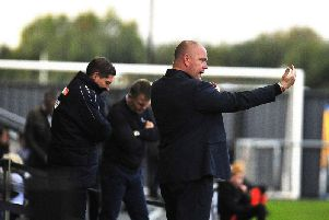 Jim Bentley gives orders during his first match in the home dugout as Fylde manager  Picture: STEVE MCLELLAN