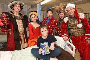 The cast meet 10-year-old Nathaniel Davies at Blackpool Victoria Hospital