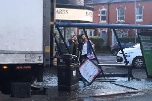 The wrecked bus shelter in St Albans Road, St Annes. Picture: Tony Wilson