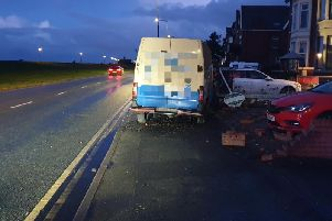 The van driver has been taken to hospital suffering a medical episode at the wheel