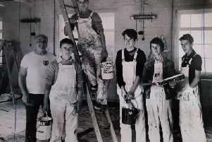 Youngsters from Fleetwood's Youth Opportunities Scheme working on the decorating of St Paul's Church Hall. From left: Geoff Beaumont (supervisor), Stephen Brown, Peter Graham, Carl Heggie, Colin Bevan and Mark Whelan