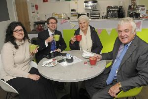 Pictured from left at the Anchor Coffee Shop are Michelle Backhouse, Coun Paul Galley, Liliane Evans and Coun Tony Williams.