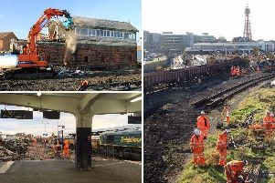 Top right: Blackpool Norths number 2 signal box, dating from 1896, is demolished Pic: @TheGNRP Bottom right: Platforms are demolished at Blackpool North Left: Workers remove tracks
