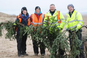 Emily Parr and Kate Owen from the Lancs Wildlife Trust and Geoff Willetts and Chris Leigh from Fylde Council.