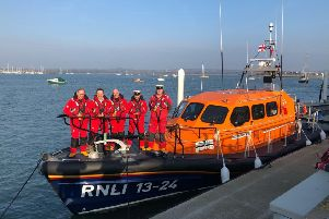 Lytham St Annes crew on board the Barbara Anne at Poole. From left: Mike Gee, Rob Stephenson, Vinny Pedley, mechanic Jon Trevorrow  and deputy second coxswain Tom Stuart