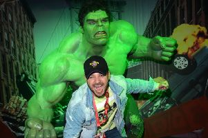 Former Emmerdale star Adam Thomas meets The Incredible Hulk