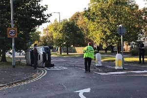 Overturned car at junction of South Park and Ballam Road Lytham. Picture: Andrew Weston