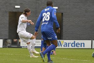 AFC Fylde's Joe Cardle shoots at the Chesterfield goal     Picture: Steve McLellan