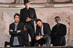 The Good, The Bad And The Queen - Damon Albarn, ex-Clash bassist Paul Simonon, Tony Allen and Simon Tong. Picture: Sren Solkr Starbird