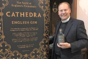 Dean of Blackburn the Very Rev Peter Howell Jones with Cathedra gin