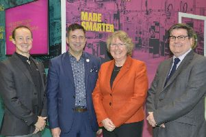 A new 20m advanced technology support scheme Made Smarter was launched at the Digital Manufacturing Week and the Manufacturers Leaders Summit.'Present were Tom Dawes from Valuechain, Juergen Maier from Siemens who is co-chairing the Made Smarter Commission, Donna Edwards from Made Smarter and Andy Walker from Boost