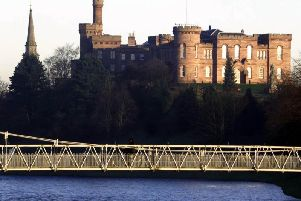 Inverness castle on the banks of the River Ness in Inverness