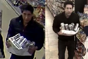 The wanted man (left) is said to look like Friends actor David Schwimmer, who parodied the CCTV image (right)