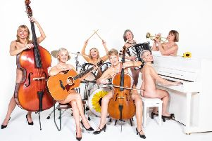 Sarah Jane Buckley, Lisa Maxwell, Rebecca Storm, Ruth Madoc, Judy Holt, Sue Daveney and Julia Hills in Calendar Girls The Musical