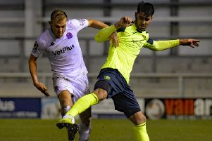 Ryan Croasdale on the attack against Havant and Waterlooville on Tuesday, when Dave Challinor says his AFC Fylde team were good value for their 6-2 victory