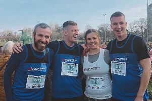 Ellie Higham with her Steven, her brother William and his friend Harry Ellams at the Stanley Park 10k