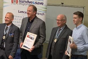 From left, Terry Rogers, chairman of the Royal Life Saving Society, Richard Williams, Blackpool Beach Patrol Manager, Peter Moyes, President, Royal Life Saving Society, and Sam Taylor, Blackpool Beach Patrol Officer