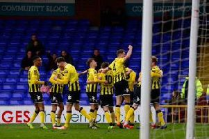 AFC Fylde celebrate their dramatic victory at Stockport  Picture: AFC Fylde