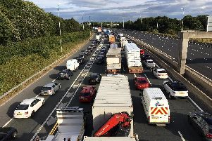 Highways England has warned drivers to take care when approaching slow traffic on the motorway and keep a good distance to the car in front.