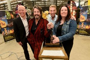 Rregional director for Northern, Chris Jackson with Sweep, creative curator Laurence Llewelyn-Bowen, Richard Cadell with Sooty and coun Gillian Campbell.