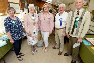 Fylde mayor Coun Angela Jacques and mayoress Charlotte Jacques with show officials (from left) Wendy Daniels, Bernard Whittle and Ken Snibson