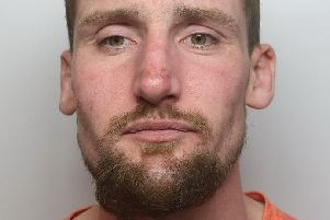 Pictured is Steven Partridge, 33, of of Bower Farm Road, Old Whittington, Chesterfield, who has been jailed for a year after admitting to an attempted burglary.