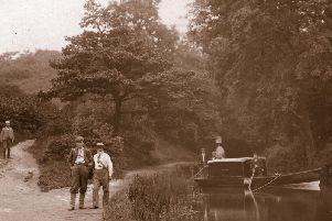 1912: An early pleasure boat visits Hag Tunnel on the Cromford Canal in 1912.