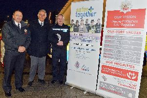 From left, deputy chief fire officer Rick Roberts, of Derbyshire Fire and Rescue Service, Hardyal Dhindsa, Derbyshire police and crime commissioner, and chief constable Peter Goodman, of Derbyshire Police, launch the new joint police and fire vision, Safer Together.