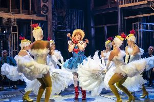 Natalie Casey and the company of Guys and Dolls.