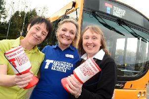 Launching trentbarton's support of Teenage Cancer Trust are, from left, Caroline Bacon-Webster (trentbarton charity champion), Yvonne Macintosh (Teenage Cancer Trust relationship manager) and Shani Bright (trentbarton driver). Photo: Lionel Heap
