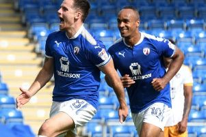 Jordan Sinnott celebrating a goal during his Chesterfield days.