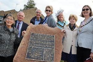 Pictured at the unveiling of the John Bowne memorial plaque are, from left, Judith Green representing the Quakers, Mark Taylor of Waterloo Housing Group, Tony Symes chairman of the Matlock Civic Association, American visitor and Bowne descendent Christine Schaller, Derbyshire Dales district chairman Jean Monks, Rosemary Vietor from the Bowne House Historical Society, and Mayor of Matlock Helen Legood.
