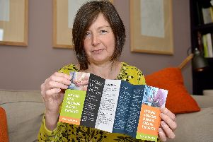 Tricia Black with the suicide prevention leaflet she has produced. Picture by Rachel Atkins.