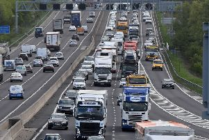 Traffic on the M1 before junction 33.