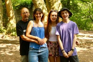 From left, Nick, Maria, Amie and Ben Hutty, who was diagnosed with a brain tumour two years ago.