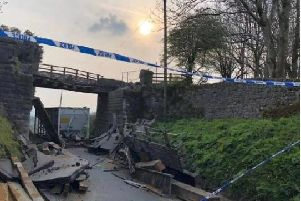 The damaged bridge after the crash near Brassington on April 17.