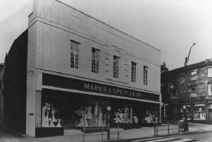 Prestigious store: Happy memories of the days when Dewsbury was a thriving shopping centre envied by most towns in the North. It shows the new Marks and Spencer store opened in Northgate in 1936, but sadly closed in 2007.