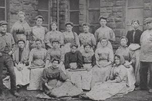 Which mill is this?: This photograph taken in the early 1900s shows a group of rag sorters with their two foremen. It was taken outside a Dewsbury rag warehouse, but unfortunately I do not have the name of the mill. If anyone could identify where it was taken and the names of those pictured, please let me know.