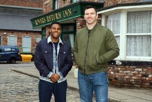 Nathan Graham with Keegan Hirst outside the Rovers Return at the Coronation Street set. Picture: ITV.