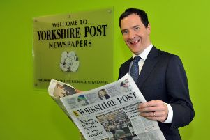 020616  George Osborne from the Vote Remain campaign looking through yestereday's  Yorkshire Post  at the Yorkshire Post Offices in Leeds yesterday(thurs) (GL1010/29o)