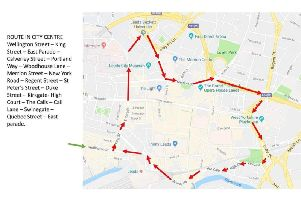 The planned taxi protest route in Leeds city centre.