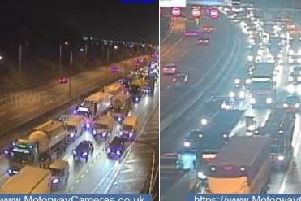 Traffic jams this morning following the westbound closure of the M62