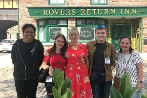 TOUR: Batley and Spen MP visited Coronation Street with local activists Josh Smith, Jasmine Kennedy, Katie and Christine Warrilow.