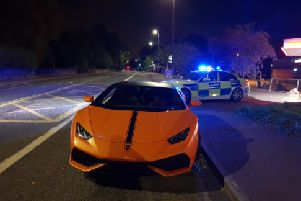 Lamborghini pulled over in West Yorkshire for not displaying a number plate