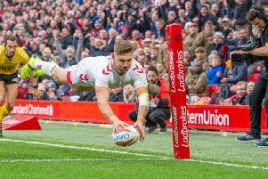 England's Tommy Makinson dives in for his first try (SWPix)