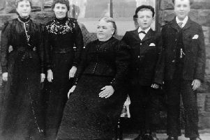 Grieving widow: Mrs Clarissa Scargill (seated left) who lost her husband, Robert, aged 40, and only son, Rufus, aged 14, in the terrible tragedy. The death of young Rufus meant that this particular line of the Scargill family ended on that day. Clarissa was left to raise six daughters on her own. She is pictured with five of them. Sarah, also pictured seated, Olive, Ethel, Linda and Tessa. The picture was kindly loaned to me 20 years ago by her grandson Herbert Oldroyd, whose mother, Linda, is pictured on the far left