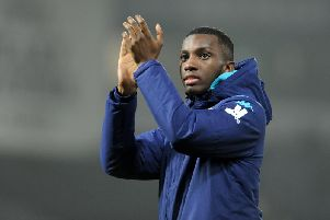 Eddie Nketiah bids farewell to Leeds United supporters after the end of the game at West Brom. Picture: Tony Johnson