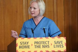 Chief nursing officer for England, Ruth May answering questions from the media via a video link during a media briefing in Downing Street. Photo: PA