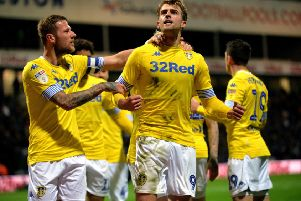Patrick Bamford takes the acclaim after scoring for Leeds United at Preston. Picture: Bruce Rollinson
